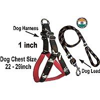 ADIOS Dog Belt Combo of 1 inch 3D Printed Blue Designer Padded Dog Body Cross Harness with Black Lead Adjustable Dog…