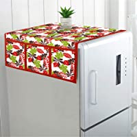DECOTREE Cotton Fridge Top Cover with 6 Utility Pockets- (Size : 22x46 Inches, Red)