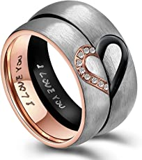 Moneekar Jewels Titanium Steel Love Puzzle Heart 6MM Wedding Engagement Anniversary Valentines Gifts Couples Rings for Lovers (Sale Price is for 1 Ring ONLY)