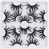 Pestañas Postizas de Pelo Artificial 3D/6D Mixtas 7 Pares Multipack, Tiras Completas, Natural Pestañas Falsa Largas Gruesas M