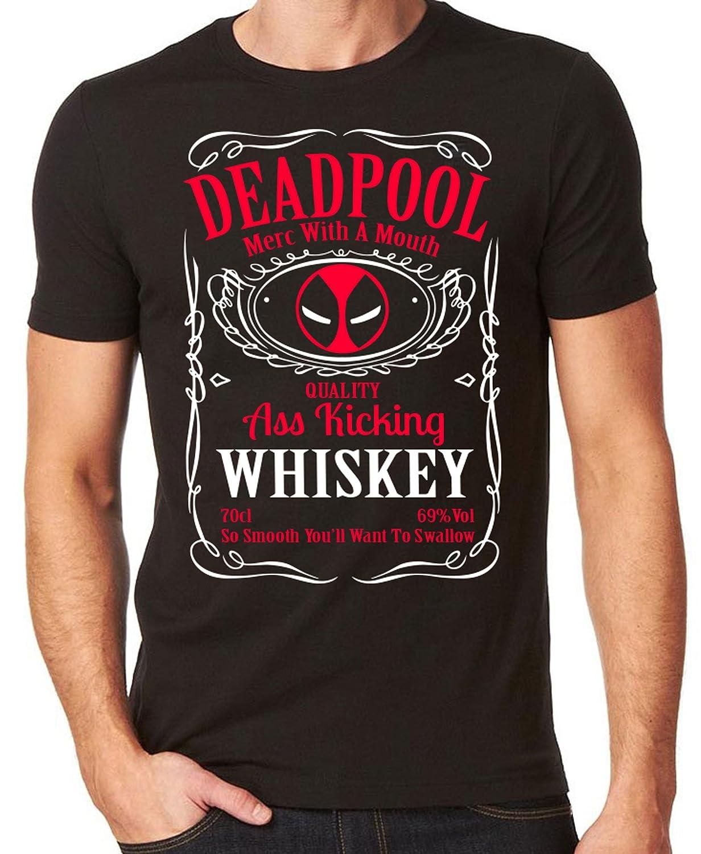 Black t shirt amazon - Deadpool Whisky T Shirt Whisky Mash Up Black Top T Shirt Amazon Co Uk Books