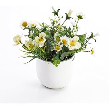 artplants k nstliche stiefm tterchen und margeriten tamina im topf wei gelb 20 cm. Black Bedroom Furniture Sets. Home Design Ideas