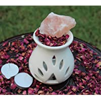 SPENDIFF Ceramic Aroma Diffuser Oil Burner White with Rose Petals, Himalayan Rock Salt & 2 Tea Light Candles