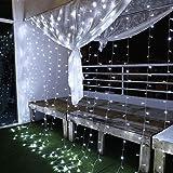Cortina de Luces, 3x3㎡ Cable de Cobre 300 LED, Resistente al Agua, 31V, 8 Modos de Luz, Decoración de Navidad, Fiestas, Bodas