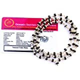 Apnisanskriti Black Tulsi Mala in Silver Designer Caps (3-4 mm, 55 Beads, Lab Certified) - Natural Black Tulsi Beads - Silver