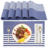 Amazon Brand – Eono Set di 6 tovagliette con PVC antiscivolo resistenti al calore e lavabili Blu