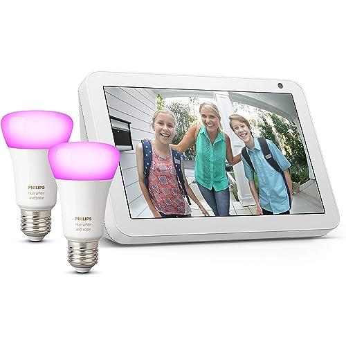 Echo Show 8 - Tessuto grigio chiaro +Lampadine intelligenti a LED Philips Hue White & Color Ambiance, confezione da 2 lampadine, compatibili con Bluetooth e Zigbee (non è necessario un hub)