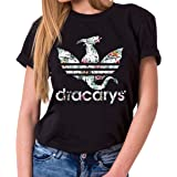 Tee Kiki Dracarys Inaya - Maglietta da Donna Girocollo Targaryen Thrones Game of Stark Lannister Baratheon Daenerys Khaleesi