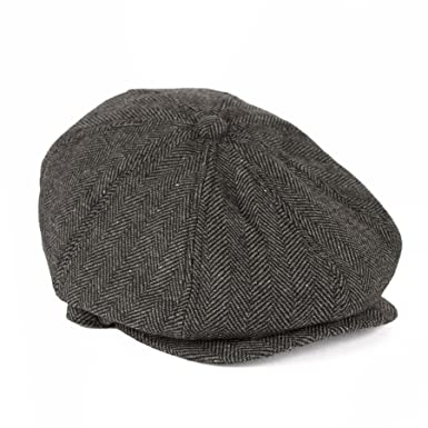d4f22a013b Men's Ladies 8 Panels Baker Boy Newsboy Gatsby Style Flat Cap Herringbone -  Grey