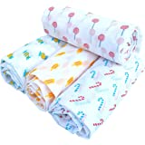 Rio Baby's Pure Cotton Swaddles, Multicolour, 92cm*114 cm, Pack of 4, Candy Print