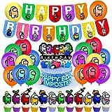 smileh Cumpleaños Decoracion de Among Us Globos Pancarta de Feliz Cumpleaños Adornos para Pastel de Juegos para niños adultos