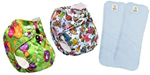 ByLoe Baby Reusable Cloth Diaper, Washable Adjustable Infants Diaper with Insert- (0-24 Months, Pad Included) - Pack/Combo of (2 Cloth Diaper+2 Microfiber Insert) (Green Berry,Bird House)