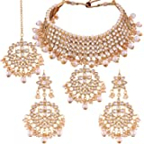 I Jewels 18K Gold Plated Traditional Handcrafted Faux Kundan & Pearl Studded Necklace Set with Earrings & Maang Tikka