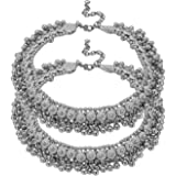 CosMos Wedding Dance Beads Oxidized Ghungroo Anklets/Pajeb/Payal for Women and Girls