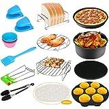 Bestcool Lot de 124 accessoires pour friteuse avec poêle à gâteau anti-adhésif, tapis en silicone, plateau à pizza adapté pou