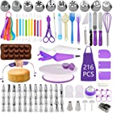 BoYun Kit de décoration de gâteau, lot de 216, outils de pâtisserie, plateau tournant, nivelleur, pointes de glaçage numéroté