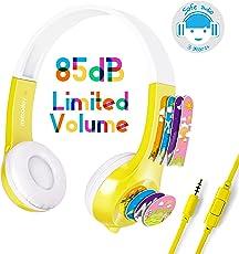 Mimoday Kinder Kopfhörer Begrenzter Lautstärke mit Mikrofon für Jungen und Mädchen iPad iPhone Kindle Fire Tablet Smartphones-Gelb