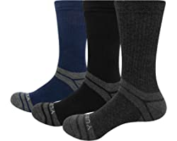 YUEDGE Men's 3 Pairs Wicking Breathable Cushion Casual Crew Socks Outdoor Multi Performance Hiking Trekking Walking Athletic