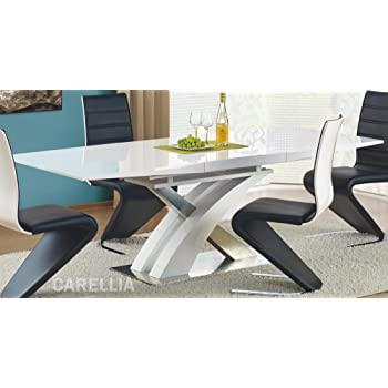 6189daf6e214d8 Table A Manger Design Extensible 160÷220 90 75 CM - Blanc  Amazon.fr ...