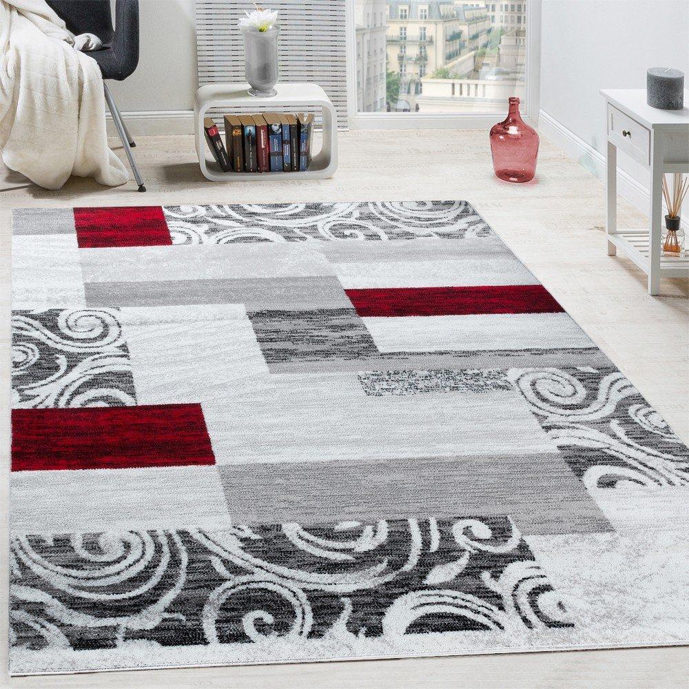 Designer Teppich Wohnzimmer Inneneinrichtung Floral Muster Meliert Hell Grau Rot Grosse60x100 Cm Amazonde Kuche Haushalt