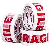 Packatape | Fragile pakketplakband | 66 m lang & 48 mm breed | Ideaal als glas plakband breekbaar, voorzichtig glas pakketban