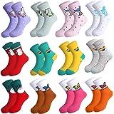 Rovtop 12Pares Calcetines de Niñas, Calcetines de Algodón para Niños de 5 a 10 Años, Calcetines Navideños de Animados Bonitos