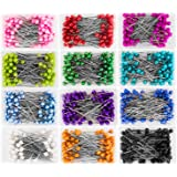 AIEX 1200 Pieces Sewing Pins Multicolor Head Pins Straight for Dressmaker Jewelry Decoration Sewing Projects(1.57inch)