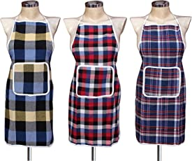 Fashion Hub Waterproof Cotton Kitchen Multi Colour Apron with Front Pocket - Set of 3