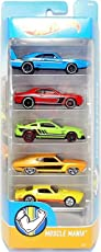Hot Wheels Muscle Mania 5 Car Gift Pack DVG01 (HW5PECDVG01, Styles May Vary)
