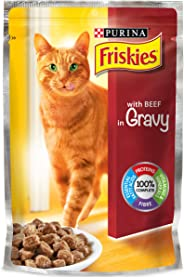 Purina Friskies with Beef In Gravy Cat Food Single Serve Pouch, 100g