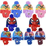 Characters Cartoons - Bambina Bambino - Set Invernale 2pz Cappello Guanti in Maglia - Bing Frozen Ladybug LOL Surprise Spider