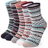 5 Pairs Thermal Womens Socks Warm Thick Knitting Winter Sock for Ladies (UK 5-8 EU 32-41)