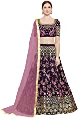 Kedar Fab Women's Embroidered with blouse piece lehenga choli (free size_ pink)