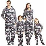 Yaffi Family Matching Pijamas Christmas Festival Pijamas con pie Sudadera con Capucha Mono Onesie para mamá Papá Niños Fleece