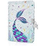 WERNNSAI Cuaderno de Lentejuelas de Sirena - Diario Reversibles de Sirenas Regalo Único para Adultos Niñas Viaje Colegio Ofic