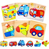 joylink Puzzles de Madera Juguetes para Bebes, 6 Piezas Puzzles de Madera Educativos para Bebé 1 2 3 años Rompecabezas de Mad