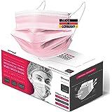 HARD - MNS 50 x mondbescherming Made in Germany Pink, Öko TEX, 3-laags, 99% BFE, oorvriendelijk speciaal rubber, beschermende