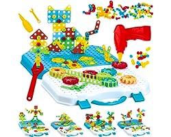 Gvoo Mosaique Enfant Puzzle 3D, 503 Pcs Jeux de Construction avec Perceuse Electrique, Puzzle Enfant Jeu Bricolage Jouet Mosa