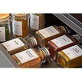 AVERY - Pochette de 48 Étiquettes pour Bocaux à Épices Prêtes à L'Emploi, Minimalistes, Format Rectangulaire 3,7cm x 4,5cm