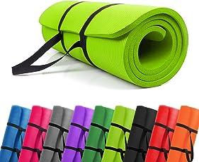 PROMIC Trainingsmatte, Yogamatte, 183 cm x 61 cm x 1,5 cm, 187 cm x 60 cm x 1,5 cm Pilates Matte, für Yoga, Pilates und andere Trainings zu Hause und Studio, rutschfeste Gymnastikmatte mit Tragegürtel