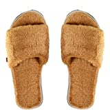 MF Home Footwear Men's Fur House Slipper for Men Soft Fuzzy Fur Home Slippers Slide Open Toe Slides for Bedroom Room Indoor C