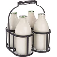 FiNeWaY Nostalgia 4 Milk Bottle Holder Metal Wire Tidy Crate Rack Carry Carrier Doorstep Store Drink Kitchen Storage Organiser Caddy with Integrated Handle