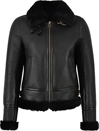 Smart Range Giacca Donna B3 in Pelle di Montone 100% Reale Shearling Flying Aviator RAF Style F-05