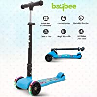 Baybee SPEEDFORCE 3 Wheel Folding Kick Kids Scooty Scooter Tricycle for Indoor & Outdoor Fun with Brake-LED Skate…