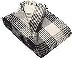 EHC Premium Reversible 100% Cotton Large 150 x 200 cm Tartan Throws for Sofa, Armchair Bedspread, Black, Small Double
