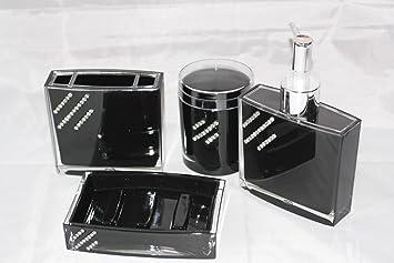 Designer Bad Set 4 Tlg. Badezimmer Seifenspender Wc Mit ... Badezimmer In Den Farben Schwarz