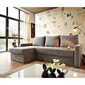 Delife Couch Rudy Braun 260x160 Antik Optik Schlaffunktion Ottomane