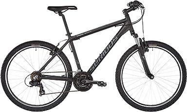 SERIOUS Mountain-Bike Rockville | 26-Zoll Hardtail MTB in Schwarz-Grau mit Scheiben-Bremsen und 21-Gang Shimano-Schaltung