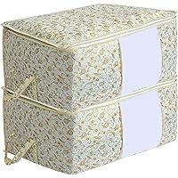Kuber Industries Metalic Print 2 Pieces Non Woven Under Bed Storage Bag, Brown (CTKTC2721)
