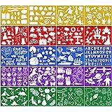 Qpout 20 pièces Modèles de Dessin en Couleur pour Enfants, Plastique Pochoir de Peinture pour Enfants Anniversaire Halloween